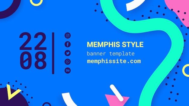 Плоский синий баннер в стиле мемфиса