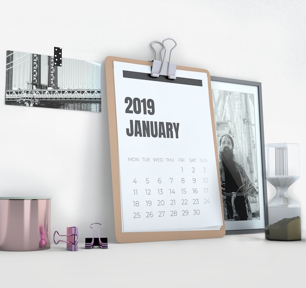 Макет бокового календаря в рабочей области