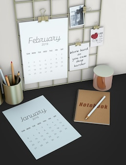 Вид сверху календарь макет рабочей области