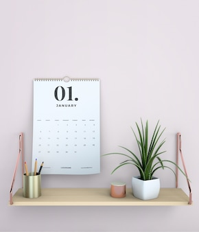 装飾的なモックアップぶら下げカレンダー