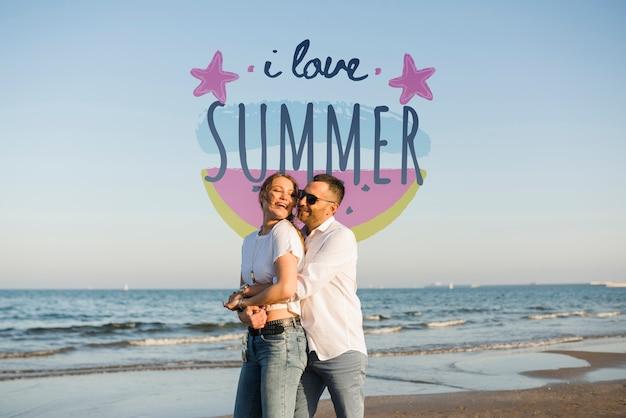 モックアップ私は夏のカップルが大好き