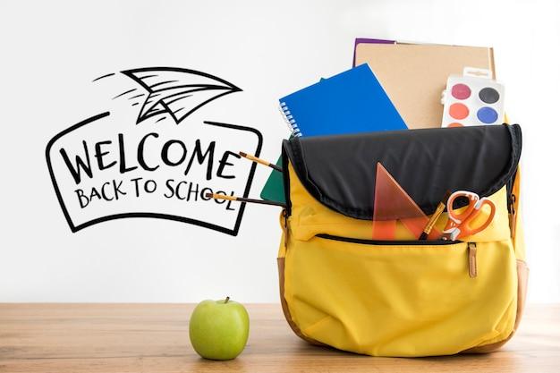 Снова в школу, рюкзак со школьными принадлежностями