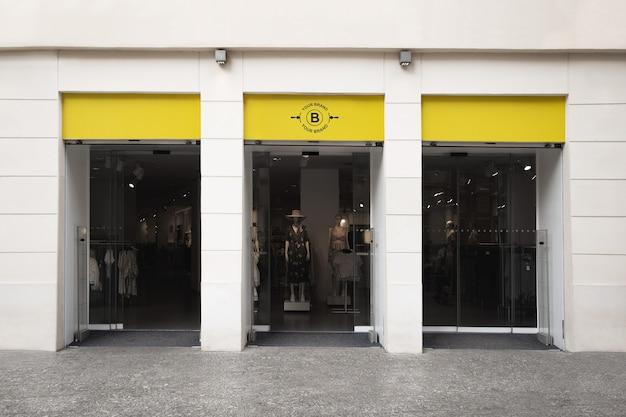 Макет логотипа на фасаде или витрине