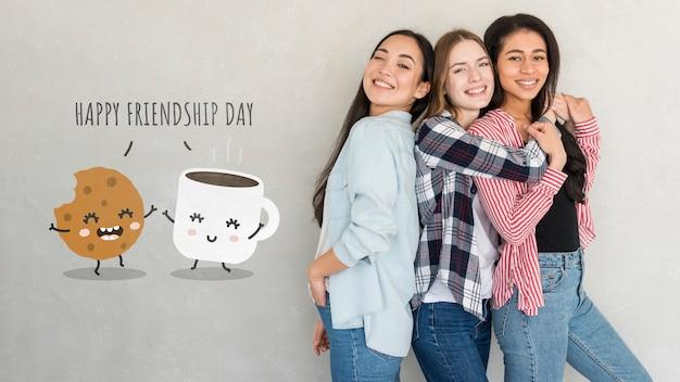 С днем дружбы. молодые друзья лучшие друзья празднуют день дружбы