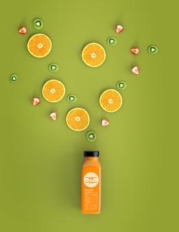 Вид сверху оранжевый коктейль макет