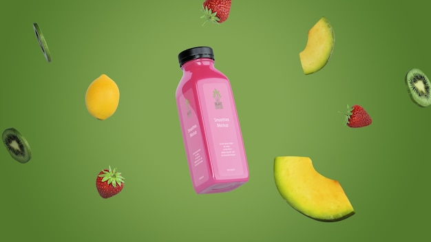 Розовый коктейль на зеленом фоне макета
