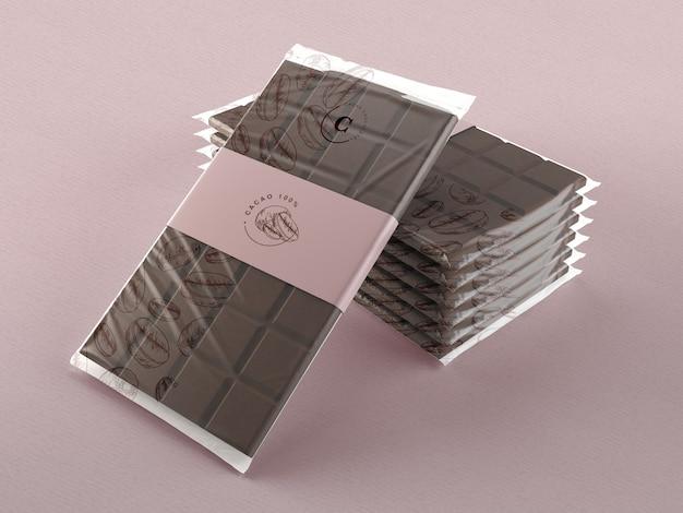 チョコレートタブレット用のプラスチックラップモックアップ