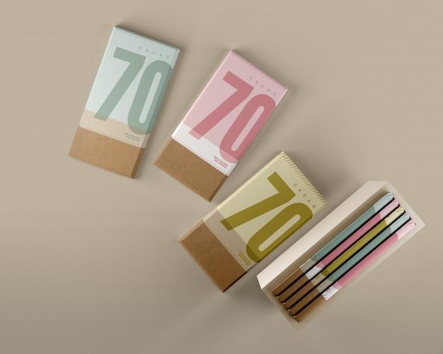 チョコレート包装紙と箱のモックアップ