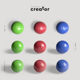 異なる色のジムボールのモックアップ