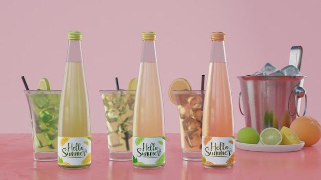 ピンクの背景とカラフルなソーダの瓶