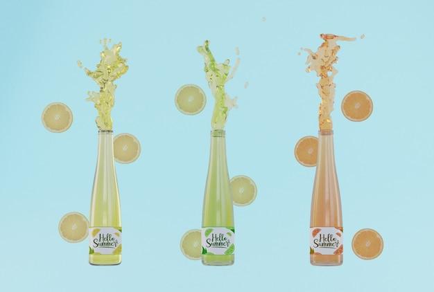 Красочные фруктовые бутылки содовой с синим фоном