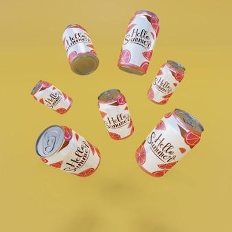 黄色の背景を持つフローティングフルーツソーダ缶