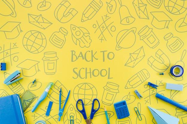 フラットは黄色の背景で学校に戻る