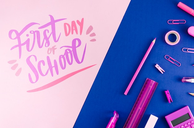 フラットは紫色の物資を使って学校に戻る