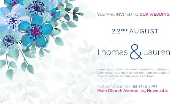 青い花を持つ結婚式の招待状