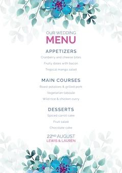 Свадебное меню с рамкой из синих цветов