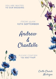 青と紫の塗られた花との結婚式の招待状