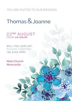 青い花を持つエレガントな結婚式の招待状