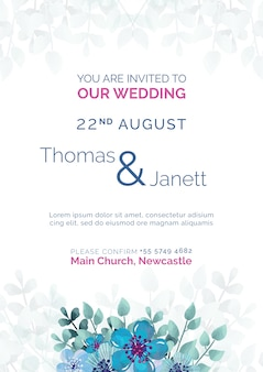 Элегантное свадебное приглашение с голубыми цветами