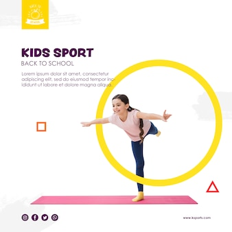 Девочка балансирует для детей спортивный шаблон