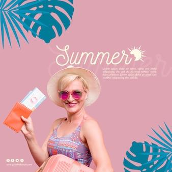 Счастливая женщина летом шаблон