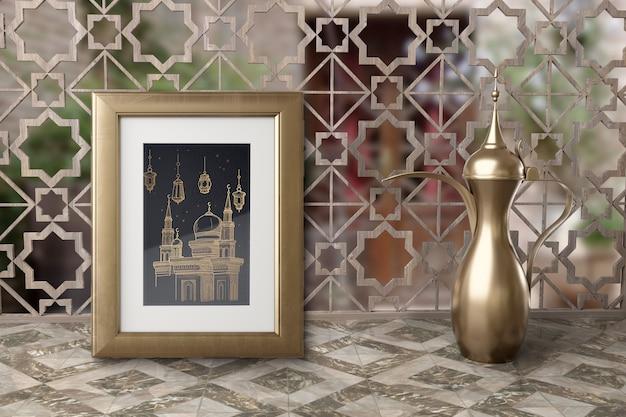 ティーポットとフレームのイスラム教徒の新年の配置