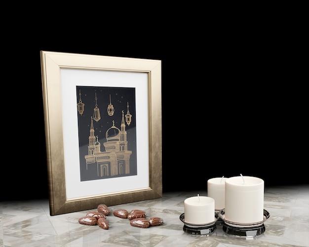 黒い背景とイスラムの新年装飾
