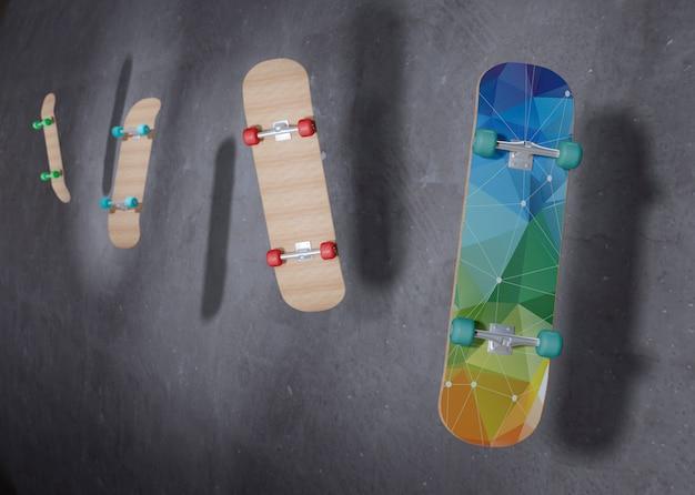 Скейтборды, плавающие в воздухе с макетом