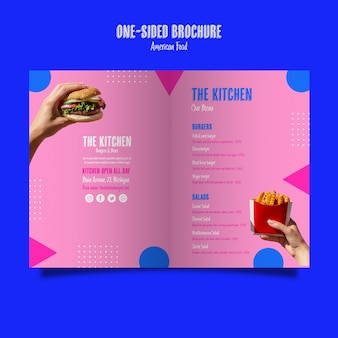 Односторонняя брошюра о меню кухни