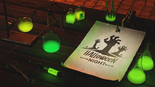 Высокий угол хэллоуин с зеленым светом
