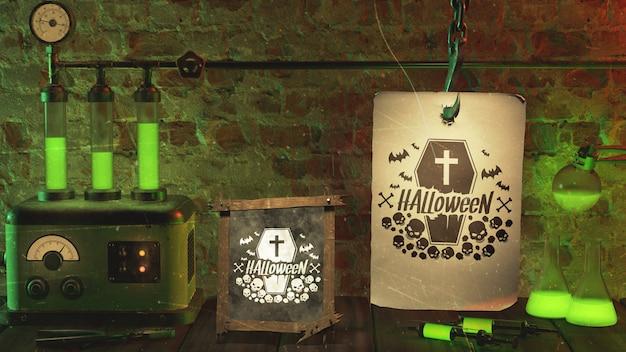 緑のネオンの光とハロウィーンイベントの手配