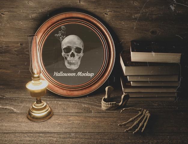 頭蓋骨とハロウィーン黒ホラーモックアップ