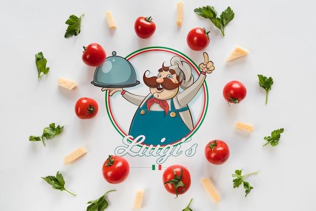 白い背景を持つトップビューイタリア食材