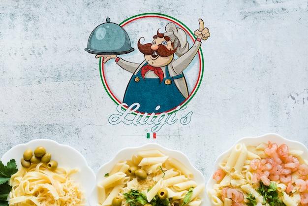 ロゴのトップビューイタリア食材