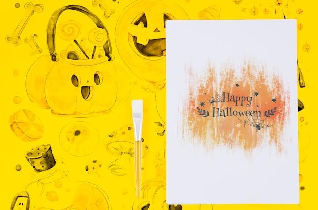 幸せなハロウィーンシート描画と背景の概念