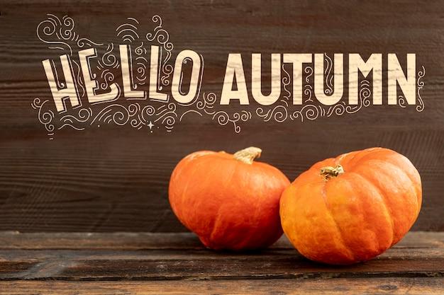 こんにちは、ハロウィーンのカボチャと秋のテキスト