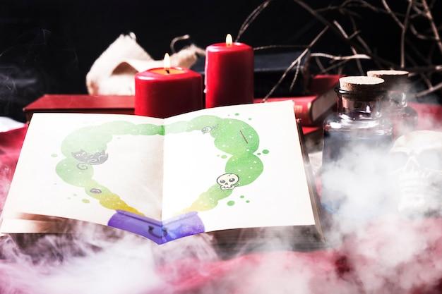 Жуткий декор для хэллоуина с дымом над столом