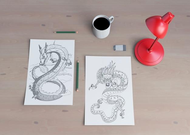 Эскиз монохромной змеи на листе