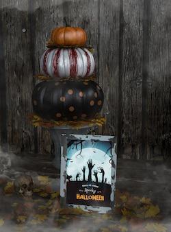 Куча тыквы трюк или угощение жуткий хэллоуин макет