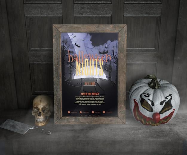 Высокий вид на хэллоуин ночи макет кадра