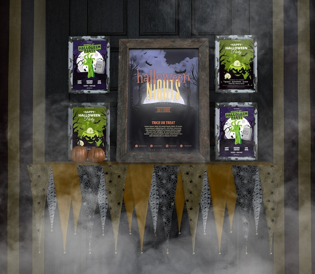 Расположение хэллоуинских макетов на жуткой стене