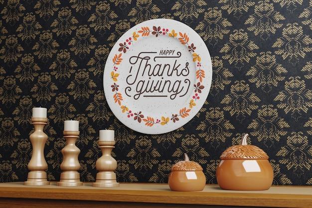 Красивый дизайн тарелки на день благодарения