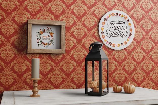 プレートとフレームに感謝祭のメッセージ