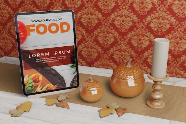 感謝祭の食べ物の選択とタブレット