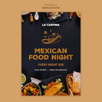 Дизайн шаблона плаката мексиканского ресторана