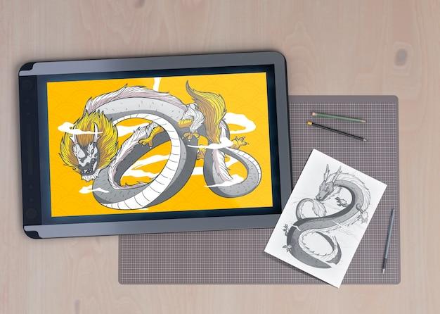 ヘビを引く電子タブレットデバイス