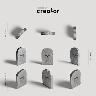 Разнообразие надгробных плит создателя сцены хэллоуина