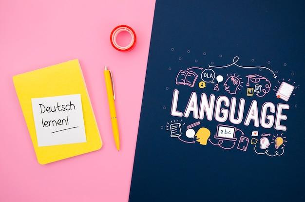 言語を学ぶためのインスピレーションを与えるメッセージとモックアップ