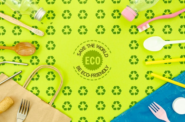 Плоская лежала экологически чистая посуда