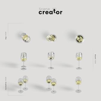 グラスで白ワインと感謝祭の配置